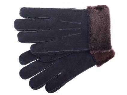 Kožešinové rukavice prstové PR61 černé velur vel. L/XL