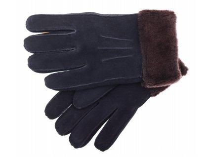 Kožešinové rukavice prstové PR64 černé velur vel. M/L