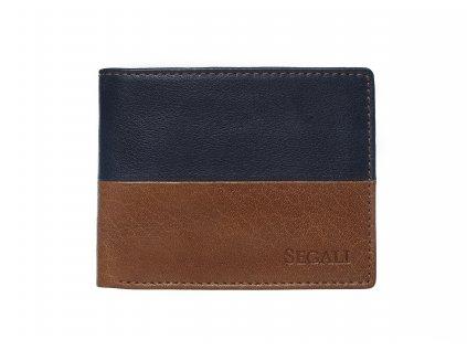 Malá pánská kožená peněženka Segali W-80892A koňakově hnědá / tmavě modrá