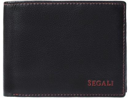 Pánská kožená peněženka Segali W-1606E černá s černým prošíváním