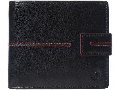 Pánská kožená peněženka Segali SG-150721 černá s červeným prošíváním a se zápinkou