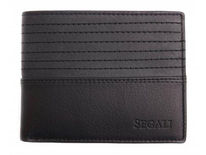Menší pánská kožená peněženka Segali W-80894 černá / šedá