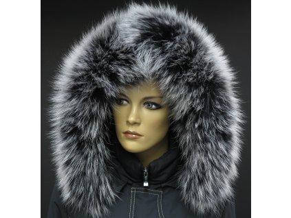 Kožešinový lem límec na kapuci z finského mývalovce 1031 BLACK & WHITE