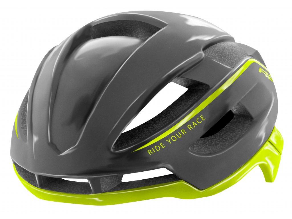 Cyklistická helma R2 AERO - šedá/neon/lesklá