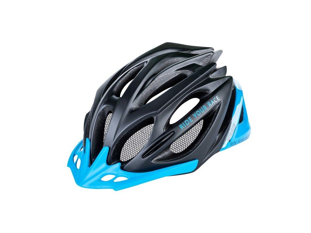 Cyklistická helma R2 PRO-TEC - černá, modrá/matná, lesklá