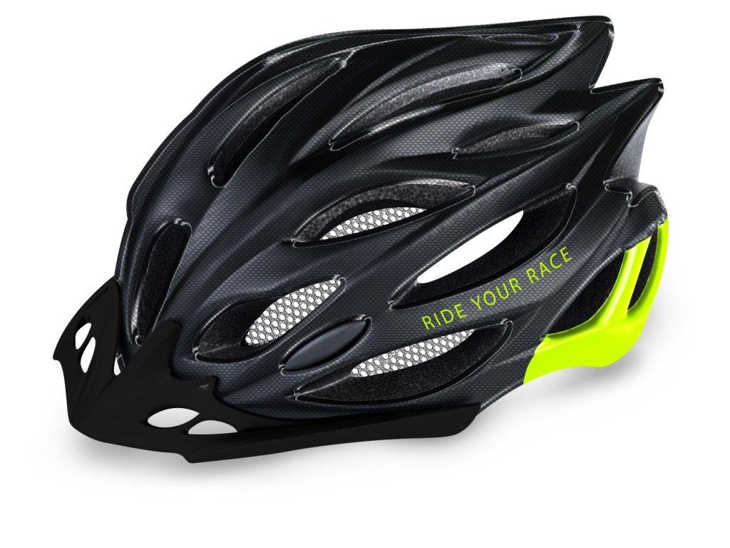 Cyklistická helma R2 Wind - černá carbon, neon žlutá/lesklá