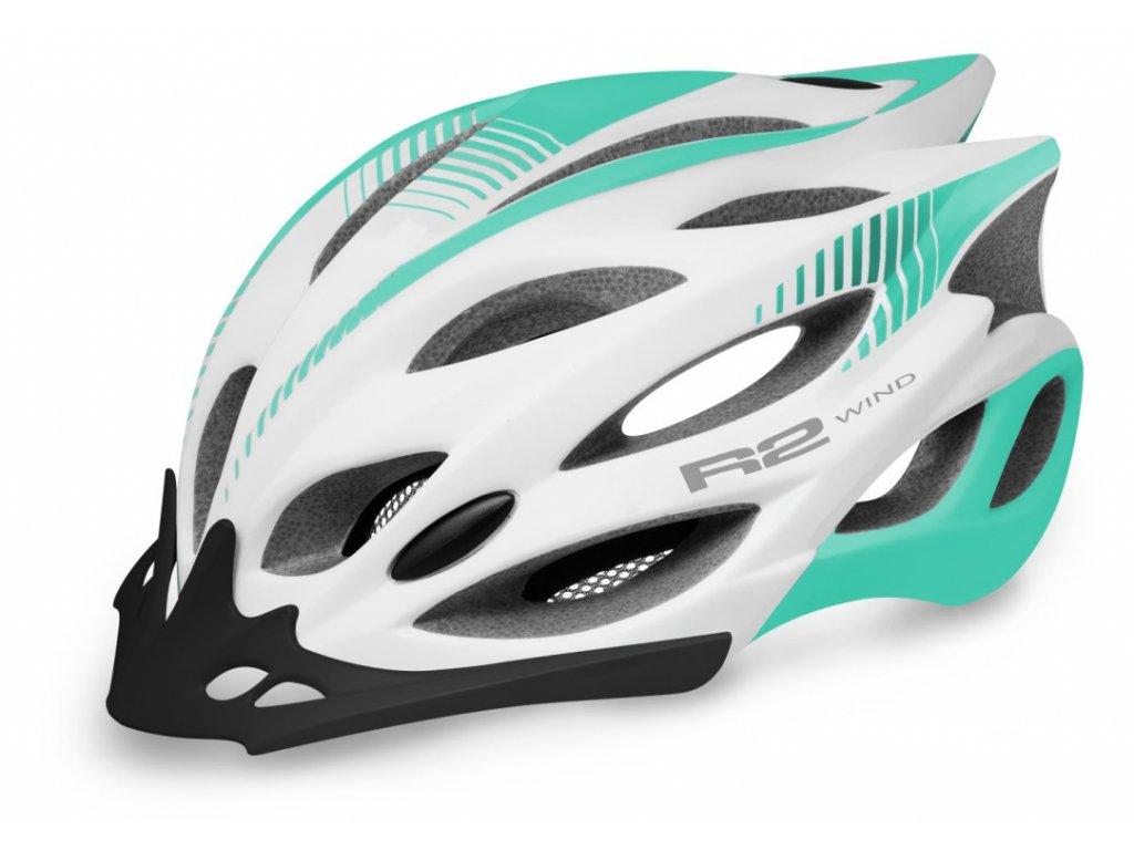 Cyklstická helma R2 WIND - bílá, mentolová/matná