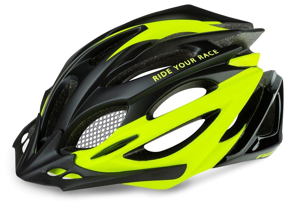 Cyklistická helma R2 PRO-TEC - černá, neon žlutá/matná, lesklá