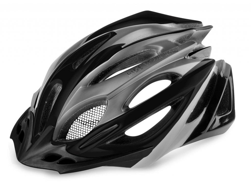 Cyklistická helma R2 PRO-TEC - šedá, černá/matná, lesklá
