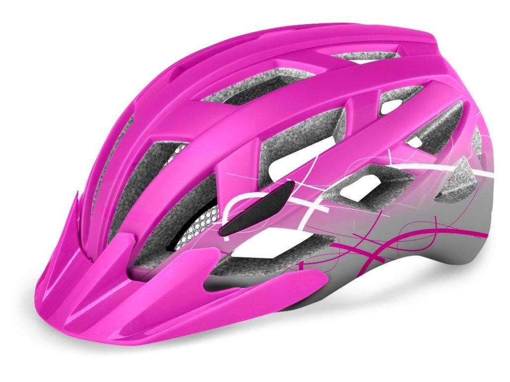 Cyklistická helma R2 LUMEN JUNIOR - růžová, šedá/matná
