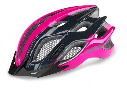 Cyklistická helma R2 TOUR - šedá, růžová/lesklá