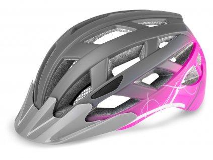 Cyklistická helma R2 LUMEN - šedá, růžová/matná