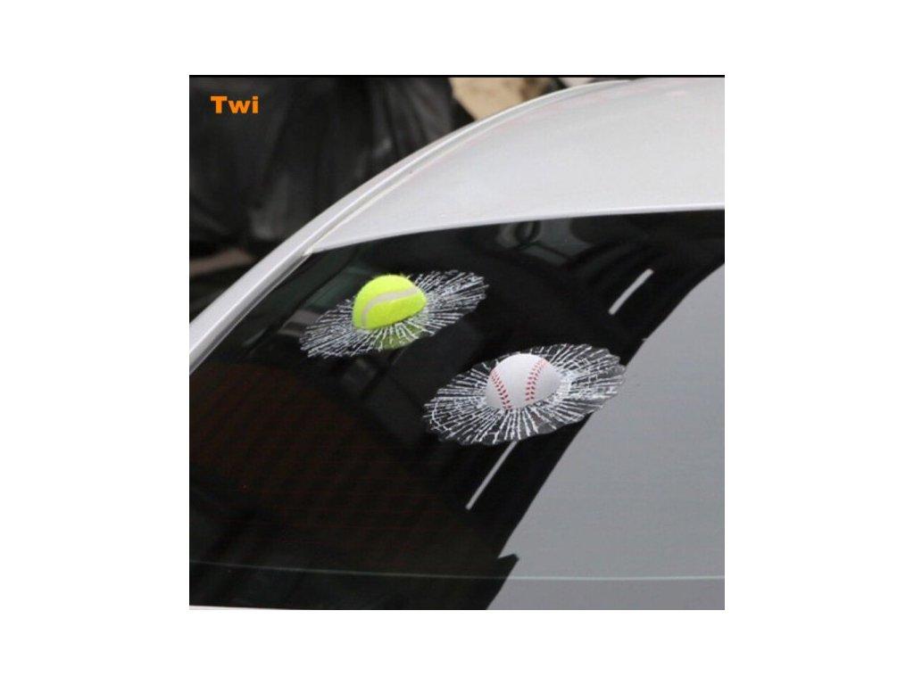 3D Samolepka - rozbité sklo, tenisový míček