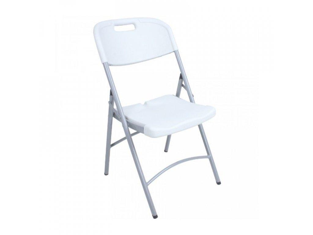 Skládací cateringová plastová židle, bílá, O9B