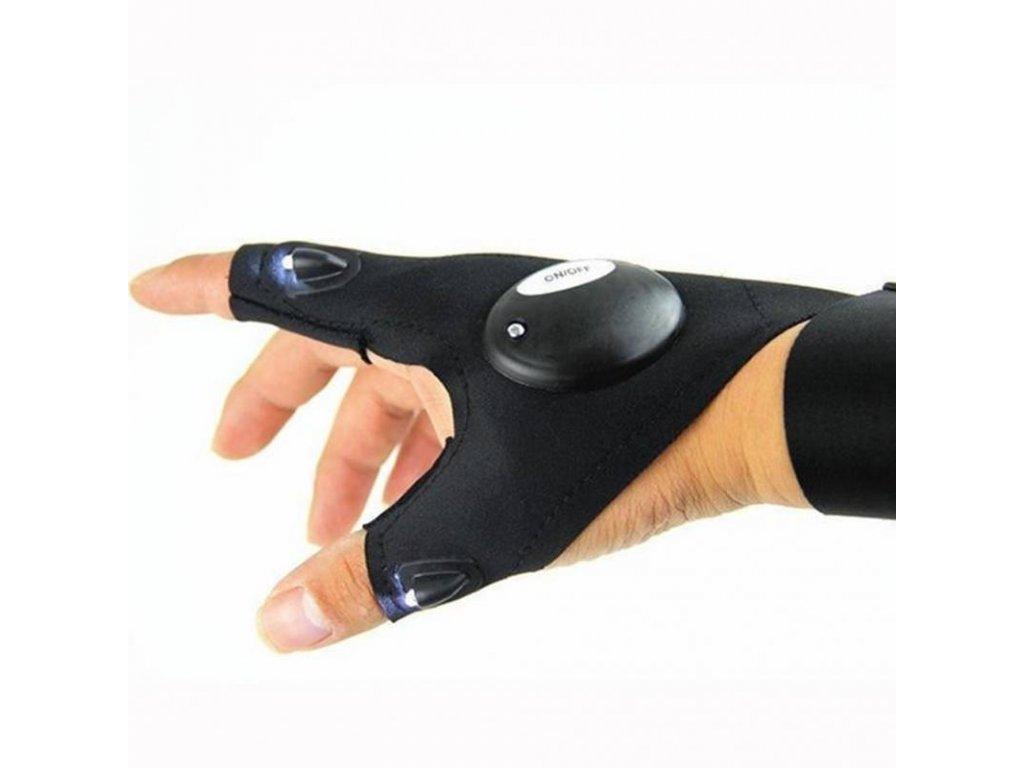 LED Svítící pracovní rukavice, černá