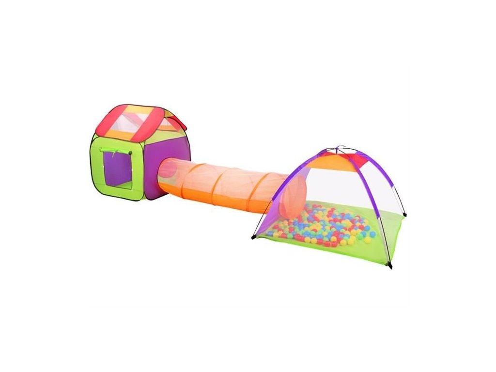 Dětský stanový set se spojovacím tunelem, 200 míčků, 2881