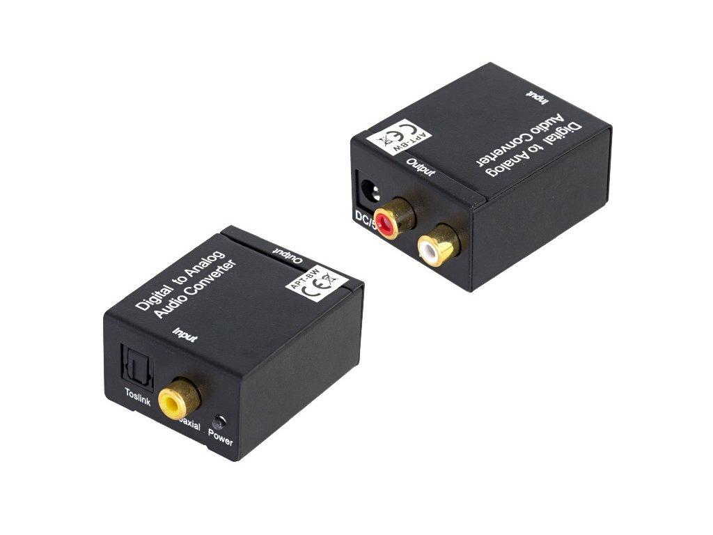 Převodník z digitálního signálu SPDIF a optického Toslink na 2x CINCH, 7472