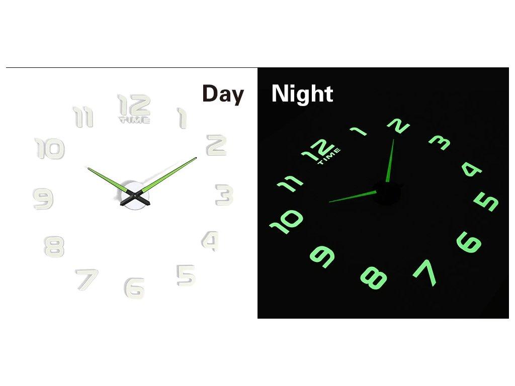 Designové 3D nalepovací hodiny fluorescenční 50 - 60cm, KX7442