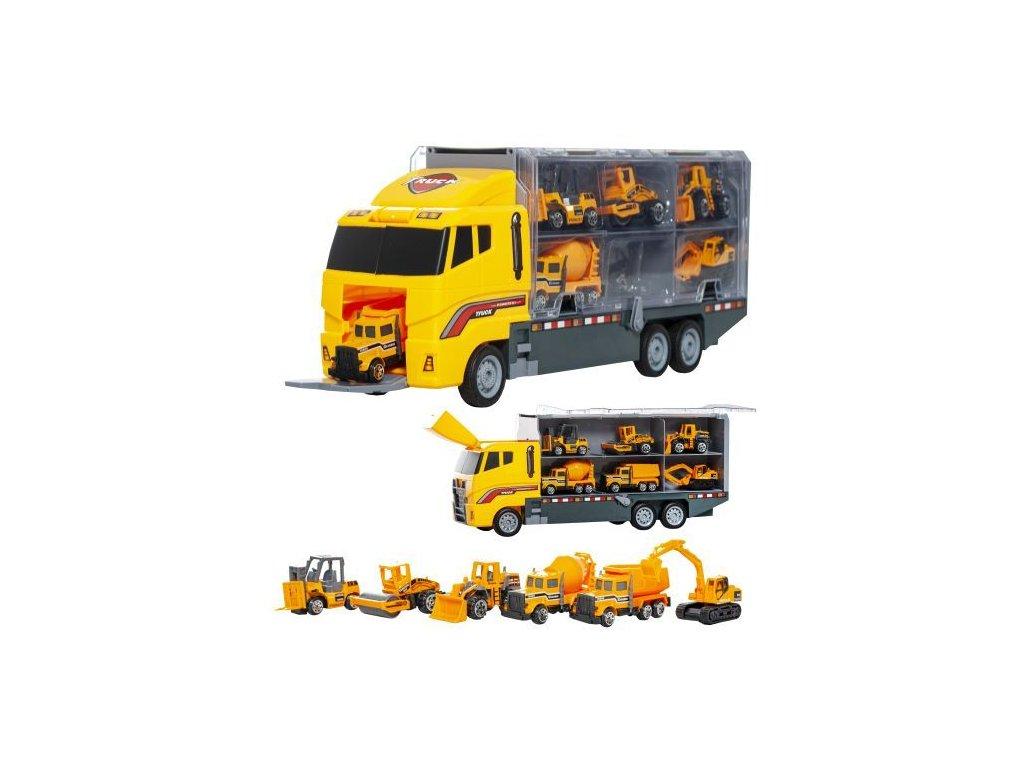 Kamion s 6x autíčky stavebnictví, 10764