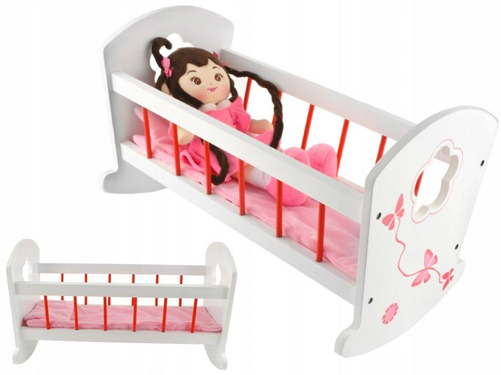Dřevěná kolébka pro panenky s peřinkami, bílá, 6508
