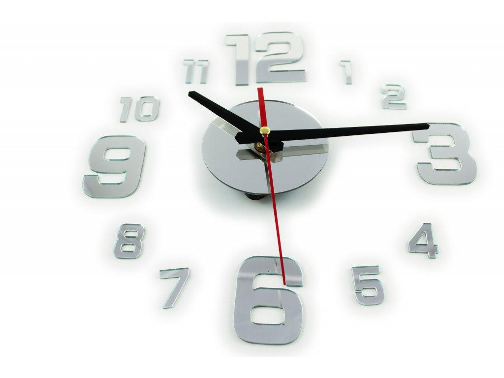 Nástěnné interiérové hodiny velká čísla, samolepící, stříbrná, KX9713_1