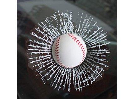 3D Samolepka - rozbité sklo, baseballový míček, ZG406