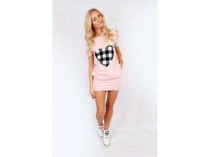 Pohodlné šaty s roztomilým srdcem,  růžová s kostkovaným srdcem, L-XL