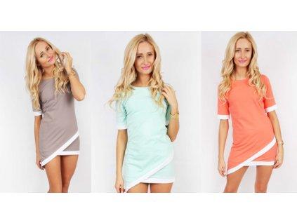 Asymetrické šaty ve svěžích barvách, korálová L/XL