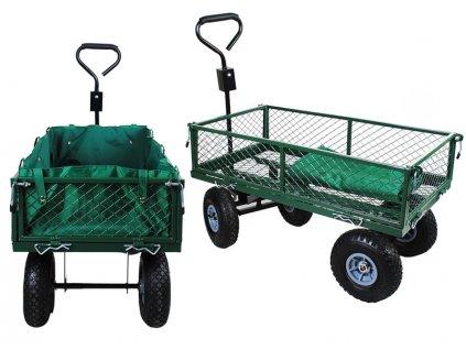 WO-7925 Zahradní vozík s výklopnými boky, zelený