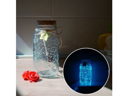 Svítící skleněná dóza - bílá/tyrkysová S205