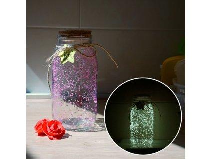 Svítící skleněná dóza - růžová/žlutá S207