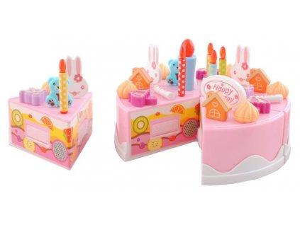 Dětský plastový narozeninový dort růžový 75 dílů, 4504