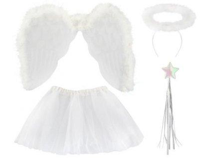 Křídla anděl péřová, svatozář, hůlka, sukně, 3069