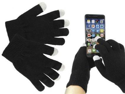Rukavice na ovládání dotykových displejů, černé, 4356
