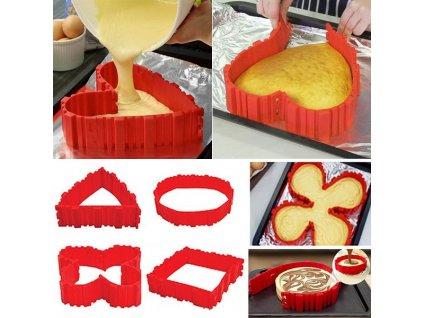 Magická tvarovací silikonová forma na dorty, červená