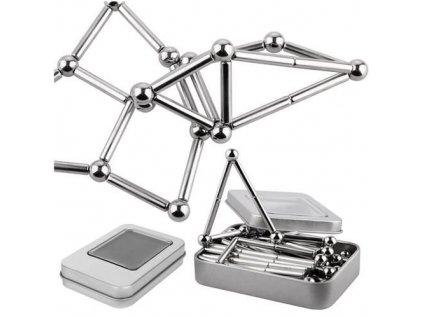 Magnetická stavebnice Neocomb 8mm, stříbrná, 9026