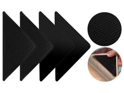 Protiskluzové rohy pod koberce 4ks, černá, 8656