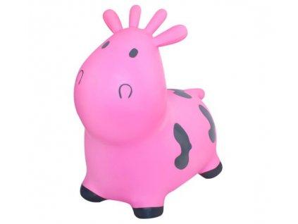Zvířátko skákací kravička s pumpou Kruzzel, růžová, 8779