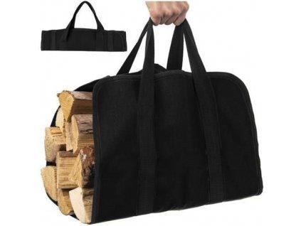 Taška na krbové dřevo 100x45cm, černá, 8791