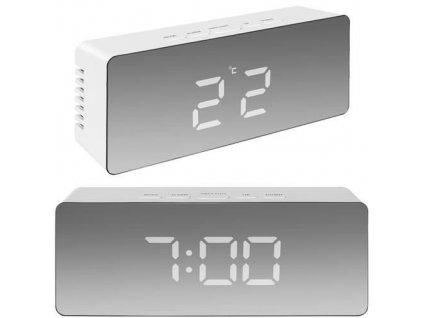 Multifunkční zrcadlové hodiny s budíkem a teploměrem, bílá, 9145
