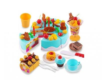 Dětský plastový narozeninový dort modrý KX9746