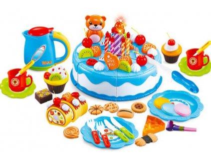Dětský plastový narozeninový dort modrý 80 dílů, KX7593