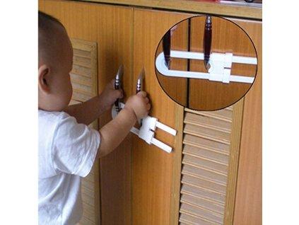 Dětský bezpečnostní zámek na nábytek 18x4cm - bílý, KX7909