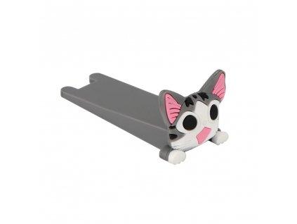 Silikonová dveřní zarážka kočka, šedá, KX7297