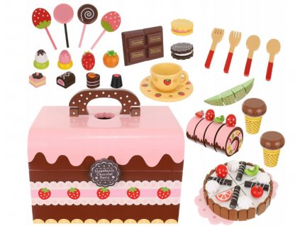 Dřevěný box plný sladkostí na hraní sada, 9355