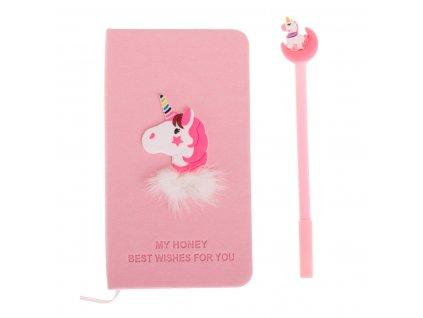 Dětský notes s propiskou Jednorožec, růžová, KX7425