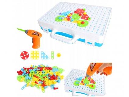 Mozaika dětské puzzle plastové bloky, šroubovák, 9427