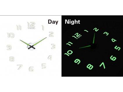 Designové 3D nalepovací hodiny fluorescentní 50 - 60cm, KX7442