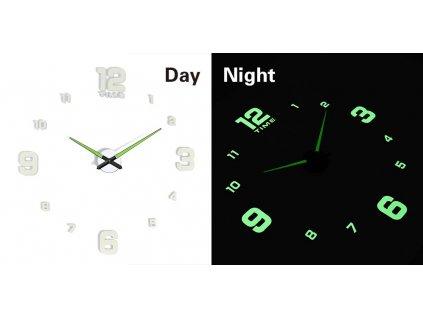 Designové 3D nalepovací hodiny fluorescentní 50 - 60cm, KX7444