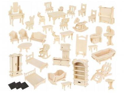 3D dřevěné puzzle nábytek pro panenky 34ks, 9423
